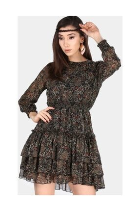 Nesrinden Eteği Fırfırlı Desenli Haki Kadın Kısa Elbise