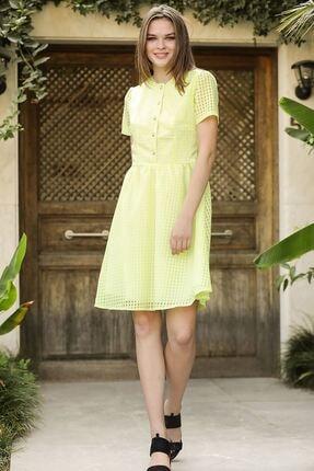 Nesrinden Düğmeli Yağ Yeşili Kadın Kısa Elbise