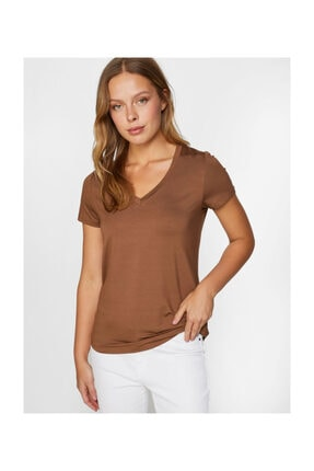 Faik Sönmez Kadın V Yaka Kısa Kol Kahverengi T-shirt 60027