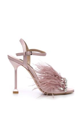 Kemal Tanca Hakiki Deri Pembe Kadın Saten Klasik Topuklu Ayakkabı 299 8707 07 BN AYK Y19