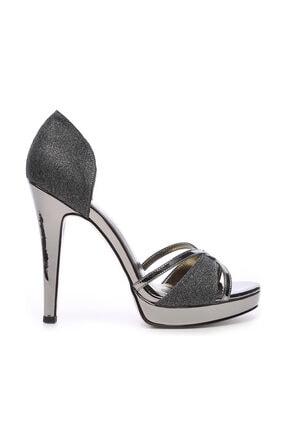 Kemal Tanca Metalik Kadın Vegan Klasik Topuklu Ayakkabı 592 19651 BN AYK Y19