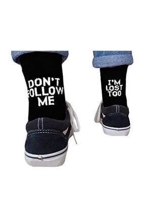 Köstebek Don't Follow Me I'm Lost Too Siyah Unisex Çorap