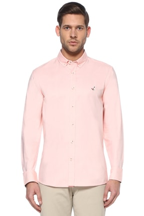 Slim Fit Pembe Polo Yaka Oxford Gömlek 101460993