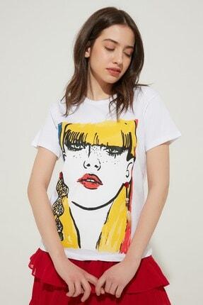 Zindi Kadın İşlemeli Baskılı T-Shirt Ekru 19YK-1071034-511