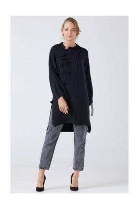 Sementa Kadın Çiçek Detaylı Kol Büzgülü Uzun Triko Hırka - Siyah