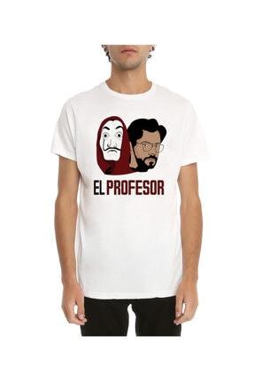Köstebek Unisex La Casa De Papel - El Profesor Beyaz T-shirt