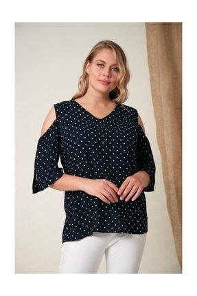 Rmg Kadın Omuz Detaylı Büyük Beden Lacivert Bluz