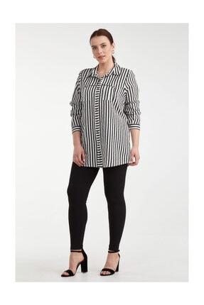 Sementa Kadın Çizgili Battal Gömlek - Siyah