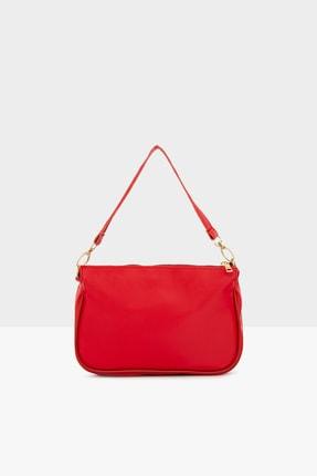 Bagmori Kırmızı Kadın Saten Fitilli Baget Çanta M000004464