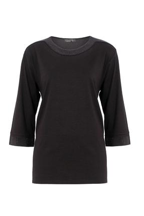 Butik Triko Kadın Siyah Taşlı Kapri Kol Penye Bluz 3278