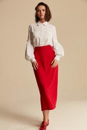 Nihan Kadın Kırmızı Düz Kalem Etek X4503