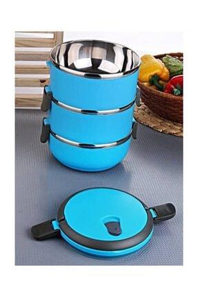 3 Katlı Yemek U Sefer Tası Saklama Kabı Renkli Paslanmaz 3KY
