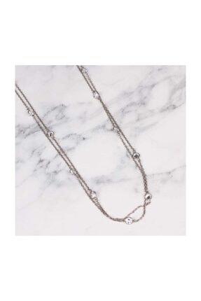 Nusret Takı 925 Ayar Gümüş Taşlı Uzun Zincir Kolye