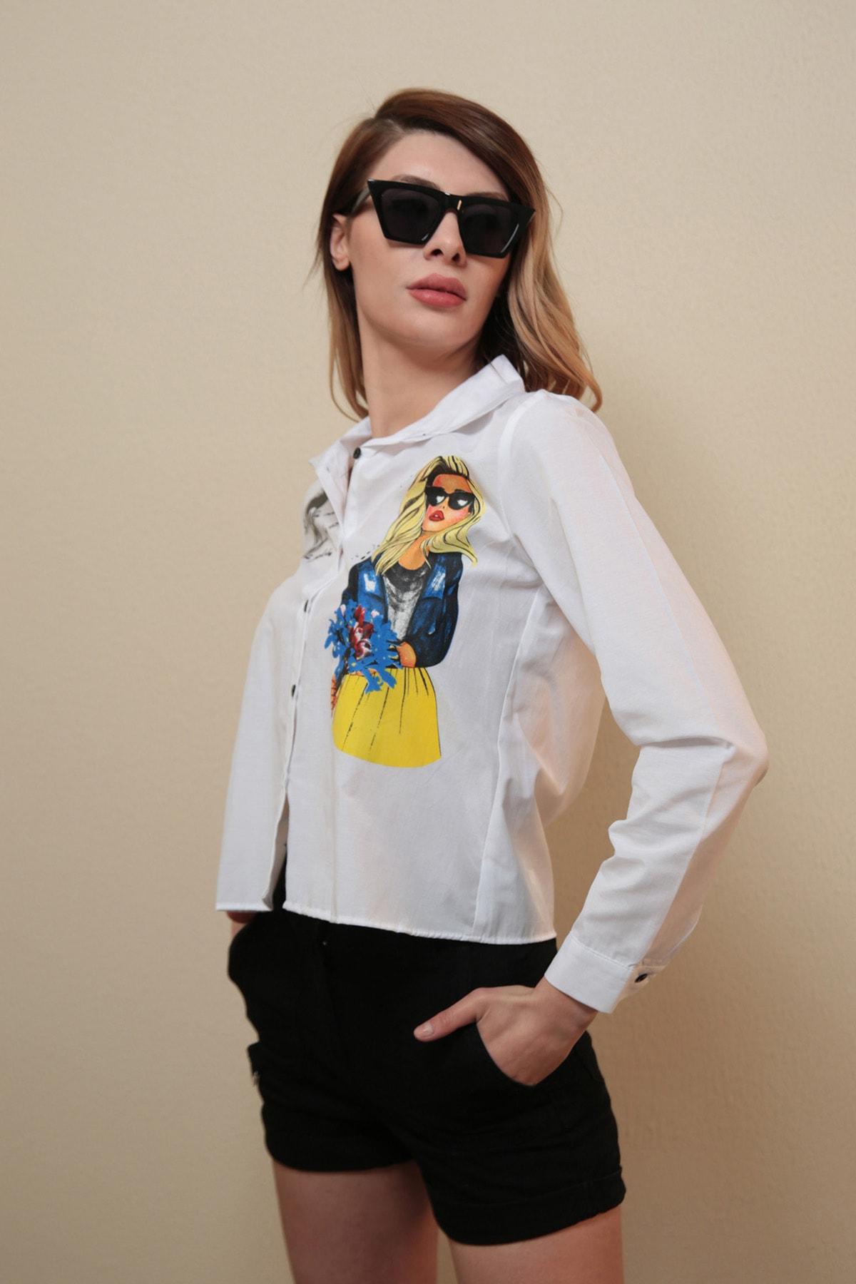 Reyon Kadın Beyaz Kız Baskılı Kadın Gömlek  20417002C2C
