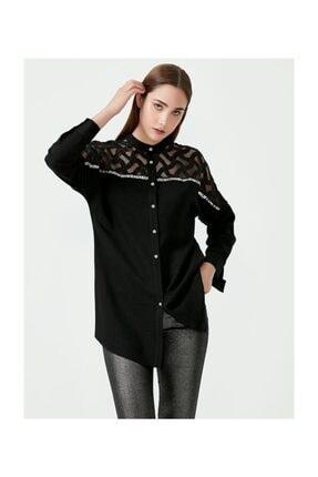 Seçil Kadın Siyah Tül Detaylı Bluz
