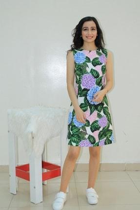 Lefon Renkli Çiçekli Kalem Elbise