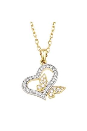 Altın Sepeti 14 Ayar Taşlı Kelebek Kalp Kolye