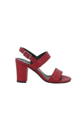Hobby Kırmızı Topuklu Yazlık Kadın Ayakkabı Lp0048
