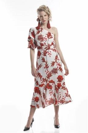 Lefon Tek Omuz Çiçek Baskılı Elbise