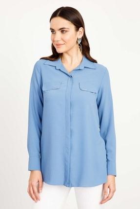 Moda İlgi Modailgi Erkek Yaka Kapaklı Gömlek Mavi