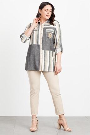 Moda İlgi Kadın Çizgili Haki Gömlek