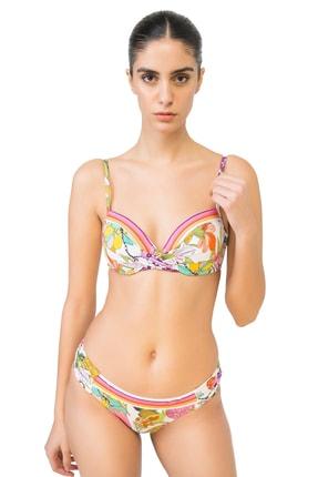 BONESTA Kadın Desenli Dönmeli Kaplı Bikini