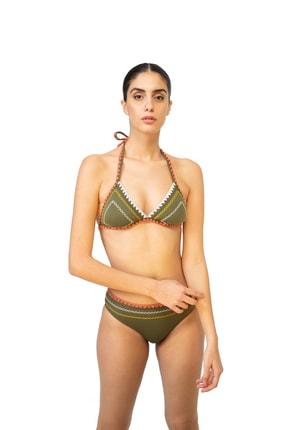 BONESTA Kadın Haki Kroşeta Detaylı Üçgen Bikini