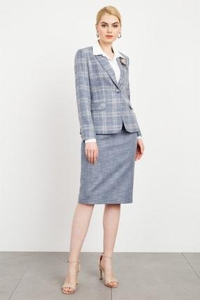 Moda İlgi Modailgi Mono Yaka Uzun Ceket Mavi