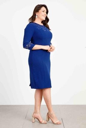 Moda İlgi Modailgi Lazerli Taşlı Elbise Morcivert