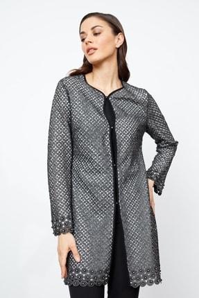 Moda İlgi Modailgi Uzun Dantel Ceket Gümüş