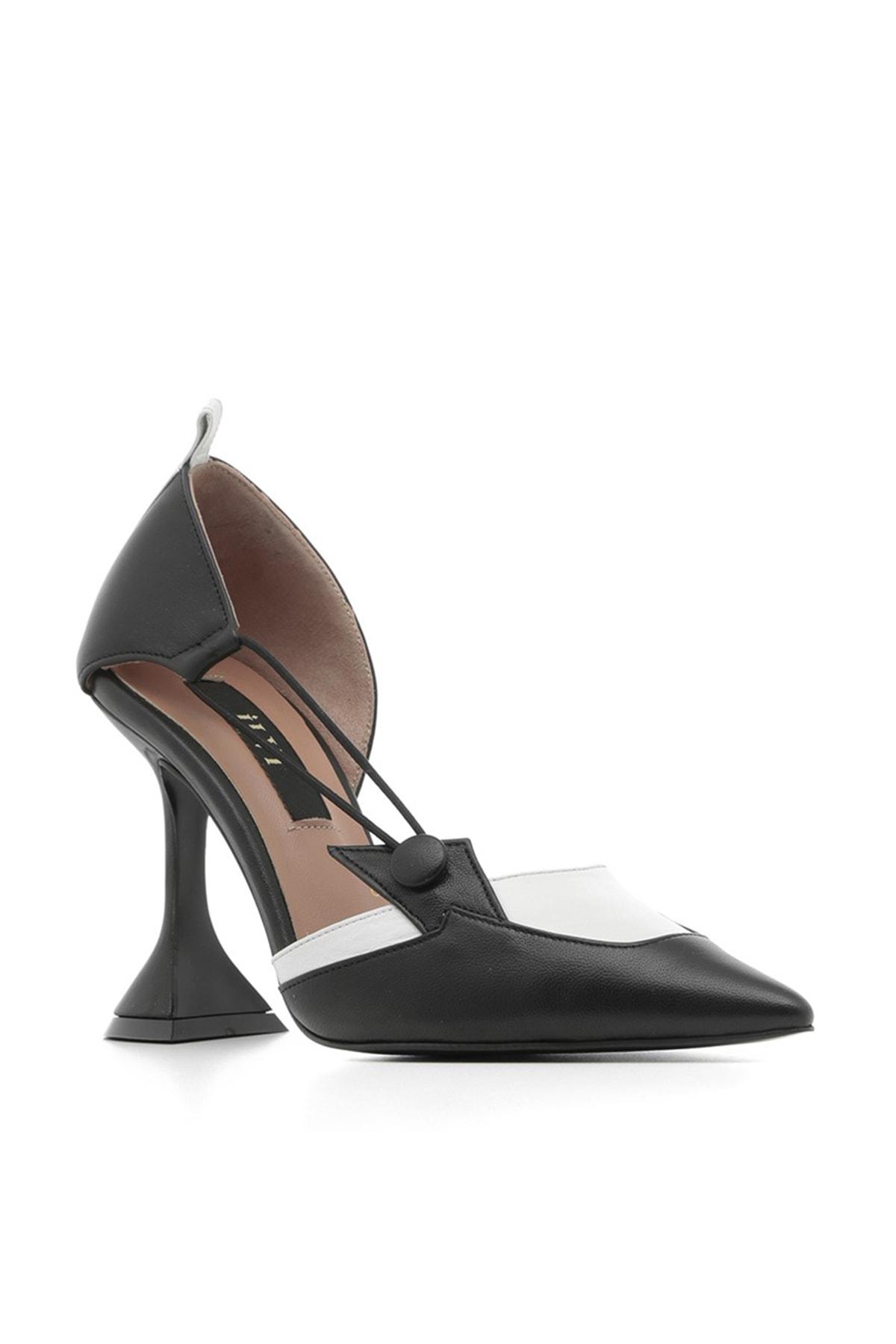 İlvi Gala Bayan Stiletto Siyah-Beyaz Deri Gala-3005.0069