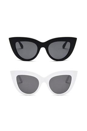 Hane14 2'li Kadın Kalın Çerçeveli Cat Eye Güneş Gözlüğü