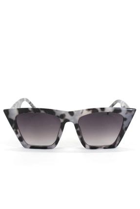 Hane14 Designer Cat Eye Köşeli Kadın Güneş Gözlüğü Siyah Bej