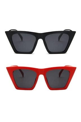 Hane14 Designer Cat Eye Köşeli Kadın Güneş Gözlüğü Siyah Kırmızı 2'li