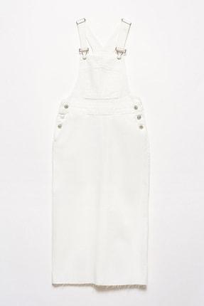 Dilvin Kadın Beyaz Uzun Salopet Etek 101A09792