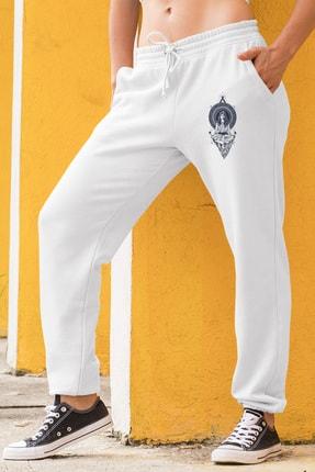 Angemiel Wear Yoga Yapan Kız Motifleri Beyaz Kadın Eşofman Altı