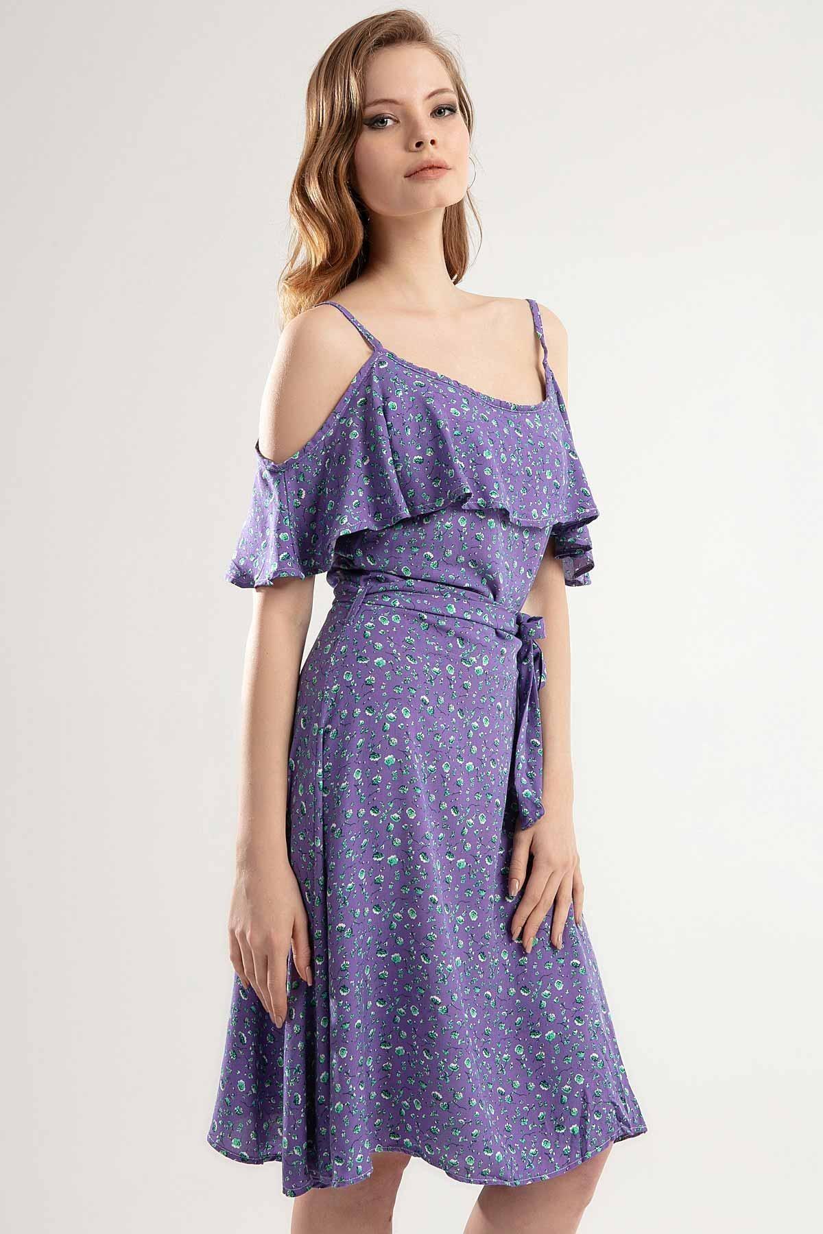 Y-London Kadın MOR Çiçek Desenli Askılı Uzun Elbise Y20S126-10195
