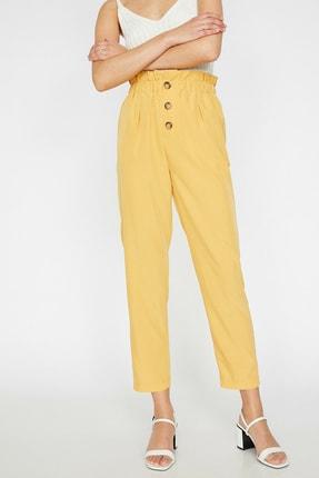Kadın Sarı Dügme Detayli Pantolon 9YAK42935OW