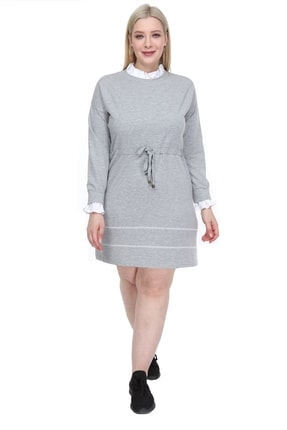 Lir Kadın Büyük Beden Elbise Gri