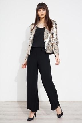 Moda İlgi Modailgi Pullu V Yaka Ceket Gold