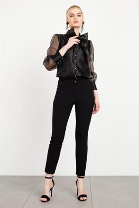 Moda İlgi Kadın  Bağcıklı Organize Gömlek Siyah