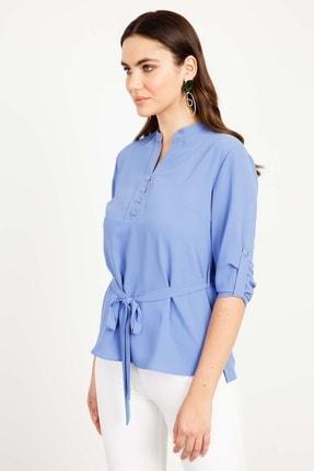 Moda İlgi 0 Yaka Düğmeli Bluz Mavi