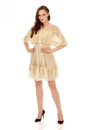 6ixty8ight Bej Büzgülü Laklı Şifon Abiye Elbise