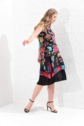 Big Free Kadın Siyah Çiçek Desenli Çift Kat Yarım Kol Tülbent Elbise Tb20Yb111008