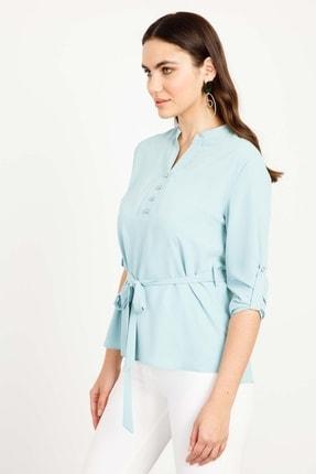 Moda İlgi Modailgi 0 Yaka Düğmeli Bluz Mint