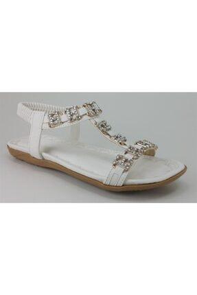 Guja Kadın Beyaz Ortopedik Swarovski Taşlı Sandalet 204-22