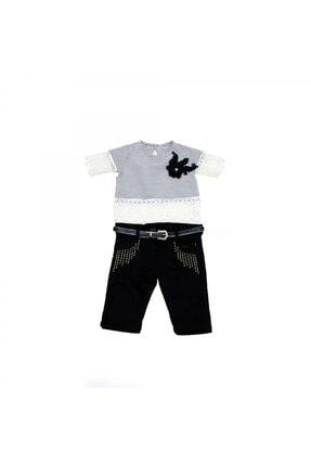 Mila Bebe Gömleği Dantelli  Keten Kaprili Kız Çocuk Takım 0000022-10