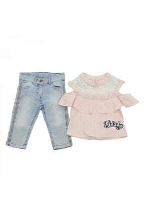 Mila Bebe Milabebe Miniesa Omuzları Dantelli Gömlek Pantolon Kız Takım 0000834-38