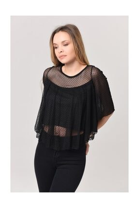 YOYOSO Kadın Siyah Puantiyeli Fashıon Tül Bluz 1461