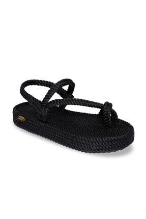 NOMADIC REPUBLIC Hawaii Platform Kadın Halat & Ip Sandalet - Siyah